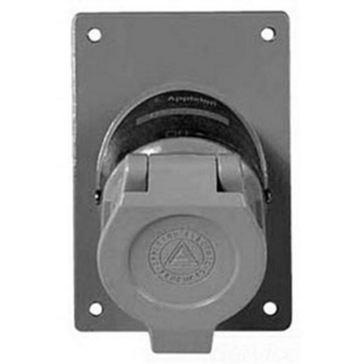 Appleton ENR5201 Appleton ENR5201 U-Line® Contender® Replacement Receptacle Cover Assembly; 20 Amp, 125 Volt AC, 3-Pole, 2-Wire