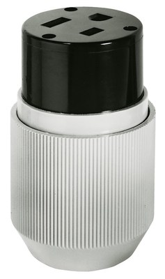 Bryant Electric Co 9650NC Hubbell / Bryant Electric 9650NC Straight Body Connector; 2-Pole, 3-Wire, 50 Amp, 250 Volt, NEMA 6-50R, Cord Mount, Gray