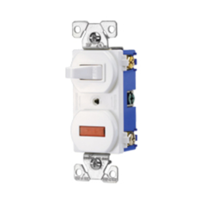 Cooper Wiring Devices 277W-BOX Cooper Wiring 277W-BOX Arrow Hart™ Duplex Combination Switch with Pilot Light; 120 Volt AC, 15 Amp, 1-Pole, White
