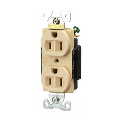 Cooper Wiring Devices 5252V Cooper Wiring 5252V Arrow Hart™ Duplex Receptacle; 15 Amp, 125 Volt AC, 2-Pole, 3-Wire, NEMA 5-15R, Ivory
