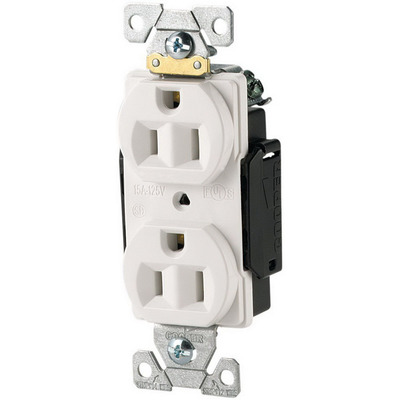 Cooper Wiring Devices 5252W Cooper Wiring 5252W ArrowHart™ Straight Blade Duplex Receptacle; 125 Volt, 15 Amp, 2 Pole, 3 Wire, Wall Mount, White