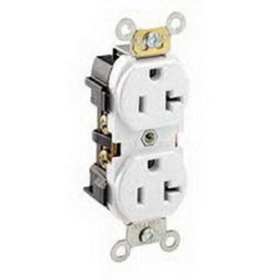 Cooper Wiring Devices 5352W Cooper Wiring 5352W ArrowLink Compact Duplex Receptacle; 20 Amp, 125 Volt AC, 2-Pole, 3-Wire, NEMA 5-20R, White