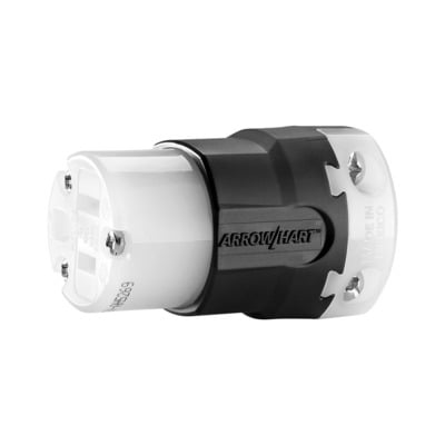 Cooper Wiring Devices AH5269 Cooper Wiring AH5269 Arrow Hart™ Grounding Straight Blade Connector; 15 Amp, 125 Volt AC, 2-Pole, 3-Wire, NEMA 5-15, Black/White