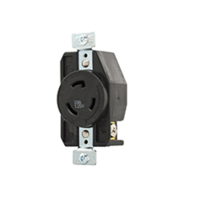 Cooper Wiring Devices AHL520R Cooper Wiring CWL520R Arrow Hart™ Hart-Lock Single Locking Specification Grade Receptacle; 20 Amp, 125 Volt AC, 2-Pole, 3-Wire, Screw, Back and Side Wired, Black