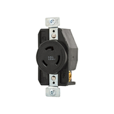 Cooper Wiring Devices AHL620R Cooper Wiring CWL620R Arrow Hart™ Hart-Lock Single Locking Specification Grade Receptacle; 20 Amp, 250 Volt AC, 2-Pole, 3-Wire, Screw, Back and Side Wired, Black