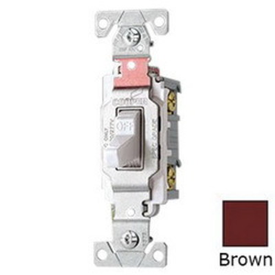 Cooper Wiring Devices CS120B Cooper Wiring CS120B Arrow Hart™ AC Quiet Toggle Switch; 1-Pole, 120/277 Volt AC, 20 Amp, Brown