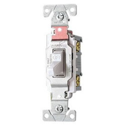 Cooper Wiring Devices CS220W Cooper Wiring CS220W Arrow Hart™ AC Quiet Toggle Switch; 2-Pole, 120/277 Volt AC, 20 Amp, White