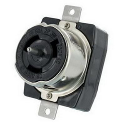 Cooper Wiring Devices CS8269 Cooper Wiring CS8269 Hart-Lock™ Arrow Hart™ California-Style Locking Receptacle; Flush Mount, 250 Volt AC, 50 Amp, 2-Pole, 3-Wire, Black