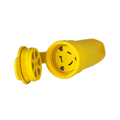 Cooper Wiring Devices L820CW Cooper Wiring L820CW Hart-Lock™ Arrow Hart™ Straight Body Watertight Locking Blade Connector; 20 Amp, 480 Volt AC, 2-Pole, 3-Wire, NEMA L8-20, Yellow