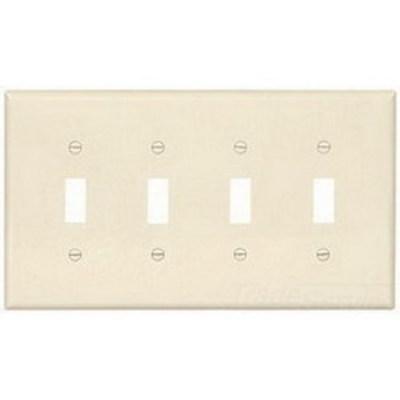 Cooper Wiring Devices PJ4LA Cooper Wiring PJ4LA 4-Gang Toggle Switch Wallplate; Screw Mount, Polycarbonate, Light Almond