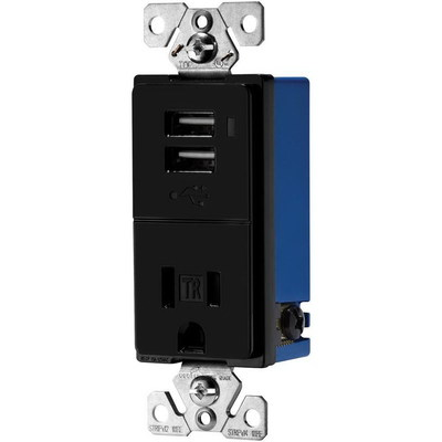 Cooper Wiring Devices TR7740BK-BOX Cooper Wiring TR7740BK-BOX Combination USB Charger With Tamper Resistant Receptacle; 5 Volt DC/125 Volt, 700 Milli-Amp/15 Amp, 2-Pole, 3-Wire, NEMA 5-15R, Black