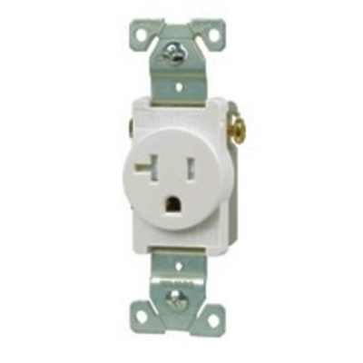 Cooper Wiring Devices TR775W-BOX-SP Cooper Wiring TR775W-BOX-SP Tamper-Resistant Recessed Single Receptacle with Clock Hanger; 125 Volt AC, 15 Amp, 2-Pole, 3-Wire, NEMA 5-15R, White