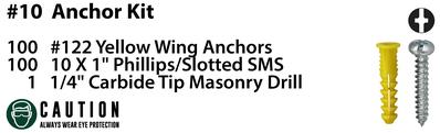 Dottie Co L.h. 2AK Dottie 2AK Phillips / Slot Screws Anchor Kit; 10 In x 1 In; #122 Anchors,1/4 In Carbide Masonry Drill Bit.