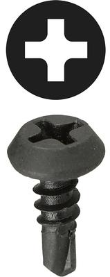 Dottie Co L.h. TEKF7716 Dottie TEKF7716 Self-Piercing Self-Drilling Screw, #7, 7/16 inch Length, Phillips Drive, Black Oxide Steel, Pan Head