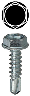 Dottie Co L.h. TEKHW1234 Dottie TEKHW1234 Self-Piercing Self-Drilling Screw, #12, 3/4 inch Length, Hex Drive, Zinc Plated Steel, Hex Washer Head