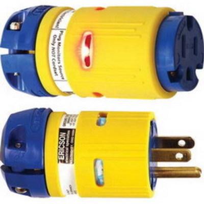 Ericson Power & Lighting Safet 1610-CML Ericson 1610-CML Perma-Link® Grounding Straight Blade Connector; 2-Pole, 3-Wire, 15 Amp, 125 Volt, NEMA 5-15C, Yellow/Blue