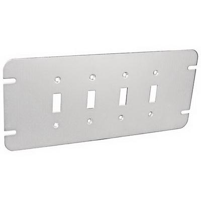 Garvin GBTC-4 Garvin GBTC-4 4-Gang Flat Box Cover; Steel, Silver, Box Mount