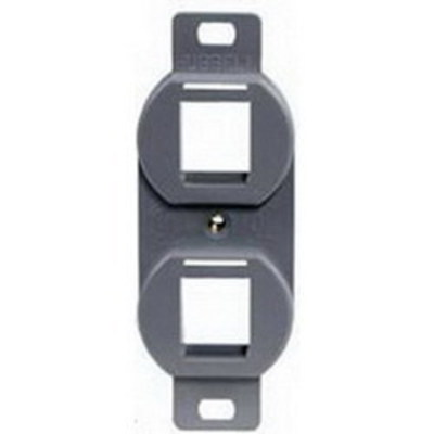 Hubbell Premise Wiring BR106G Hubbell Premise BR106G 1-Gang Duplex 106 Outlet Frame; Flush, (2) Port, High Impact Polymer, Gray