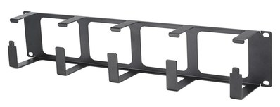 Hubbell Premise Wiring HS23 Hubbell Wiring HS23 S Series Horizontal Cable Organizer; 2U Rack, 3 Inch Extension, 14 Gauge Cold Rolled Steel, Powder Coated, Black, Fits VS76xx, VS74xx Vertical Organizer