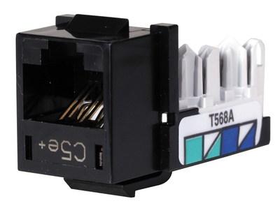 Hubbell Premise Wiring HXJ5EBK Hubbell Premise HXJ5EBK Xcelerator™ Speedgain™ Universal Standard Size Category 5e Modular Datacom Jack; 8P8C, Black
