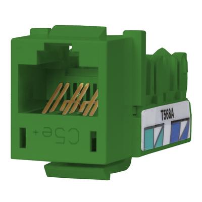 Hubbell Premise Wiring HXJ5EGN25 Hubbell Premise HXJ5EGN25 Xcelerator™ Speedgain™ Universal Standard Size Category 5e Modular Datacom Jack; 8P8C, Green
