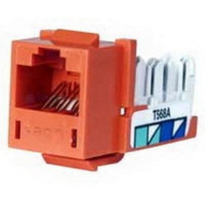 Hubbell Premise Wiring HXJ5EOR Hubbell Premise HXJ5EOR Xcelerator™ Speedgain™ Universal Standard Size Category 5e Modular Datacom Jack; 8P8C, Orange