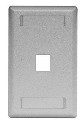 Hubbell Premise Wiring IFP11GY Hubbell Premise IFP11GY 1-Gang Rear-Loading Faceplate; Box Eliminator/Flush, (1) Port, Keystone, Flame Retardant ABS, Gray