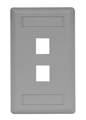 Hubbell Premise Wiring IFP12GY Hubbell Premise IFP12GY 1-Gang Rear-Loading Faceplate; Box Eliminator/Flush, (2) Port, Keystone, Flame Retardant ABS, Gray