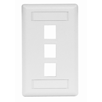 Hubbell Premise Wiring IFP13W Hubbell Premise IFP13W 1-Gang Rear-Loading Faceplate; Box Eliminator/Snap-On/Flush, (3) Port, Keystone, Flame Retardant ABS, White