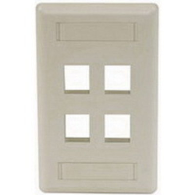 Hubbell Premise Wiring IFP14EI Hubbell Premise IFP14EI iStation™ 1-Gang Standard IFP Faceplate; Flush, (4) Port, ABS, Electric Ivory