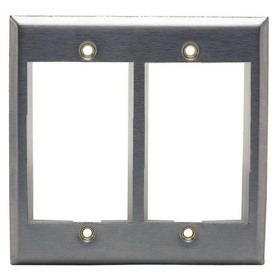 Hubbell Premise Wiring IMSS2 Hubbell Premise IMSS2 iStation™ 2-Gang Faceplate; Screw, (2) Port, 430 Stainless Steel