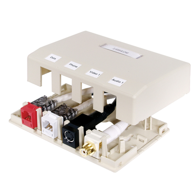 Hubbell Premise Wiring ISB4OW Hubbell Premise ISB4OW Istation™ Low Profile Surface Mount Box; Screw Mount, Composite, Off-White, (4) Port