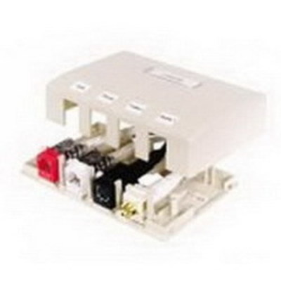 Hubbell Premise Wiring ISB4W Hubbell Premise ISB4W Istation™ Low Profile Surface Mount Box; Screw Mount, Composite, White, (4) Port