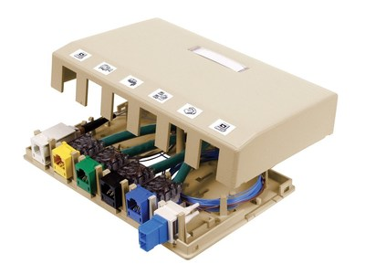 Hubbell Premise Wiring ISB6EI Hubbell Wiring ISB6EI ISB Surface Mount Box; 6-Port, 4 Inch Width x 1.230 Inch Depth x 6.5 Inch Height, High Impact Thermoplastic, Electric Ivory