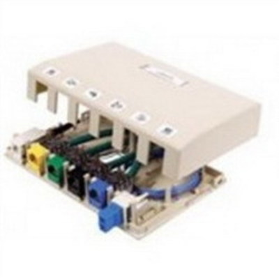 Hubbell Premise Wiring ISB6W Hubbell Premise ISB6W Istation™ Low Profile Surface Mount Box; Screw Mount, Composite, White, (6) Port