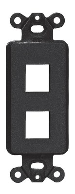 Hubbell Premise Wiring ISF2BK Hubbell Premise ISF2BK 1-Gang Decorator Outlet Frame; Screw, (2) Port, Keystone, High Impact Nylon, Black