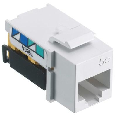 Hubbell Premise Wiring NSJ5EW25 Hubbell Wiring NSJ5EW25 NetSelect® Universal A/B Standard Size Category 5e Modular Voice/Data Jack; Screw Mount, 8P, White