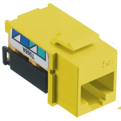 Hubbell Premise Wiring NSJ5EY Hubbell Wiring NSJ5EY Netselect® Snap Fit CAT 5e Modular Voice/Data Jack; 8P, 110 Punch Down, Screw Mount, Yellow