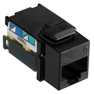Hubbell Premise Wiring NSJ6BK Hubbell Wiring NSJ6BK Netselect® Standard Size Snap Fit Category 6 Modular Voice/Data Jack; 8P, Black
