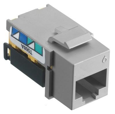 Hubbell Premise Wiring NSJ6GY Hubbell Wiring NSJ6GY Net Select Jack® Category 6 Modular Keystone Jacks; Phosphor Bronze, Gray