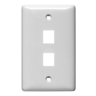 Hubbell Premise Wiring NSP12W Hubbell Wiring NSP12W Netselect® Multimedia Faceplate Without Label; 1-Gang, 2-Port, Flush/Screw Mount, White