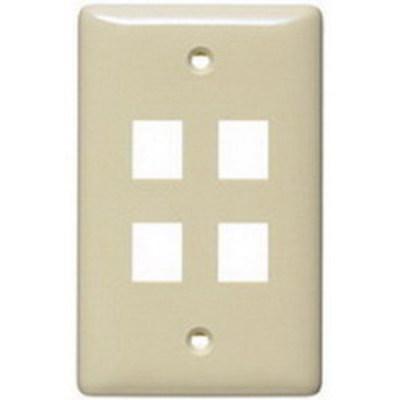 Hubbell Premise Wiring NSP14W Hubbell Wiring NSP14W 1-Gang Multimedia Faceplate; Box/Flush, (4) Port, Keystone, Flame Retardant ABS, White