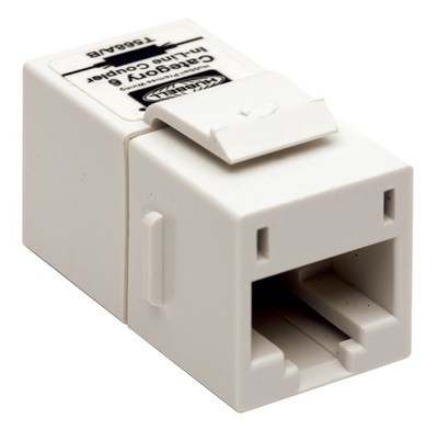 Hubbell Premise Wiring SFC6W Hubbell Wiring SFC6W Istation™ CAT 6 Inline Keystone Coupler; Snap-On/Snap-Fit Mount, White