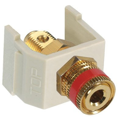Hubbell Premise Wiring SFSPGREI Hubbell Premise SFSPGREI iSTATION™ AV Speaker Post; Snap-In Mount, Gold-Plated, Electric Ivory/Red Ring