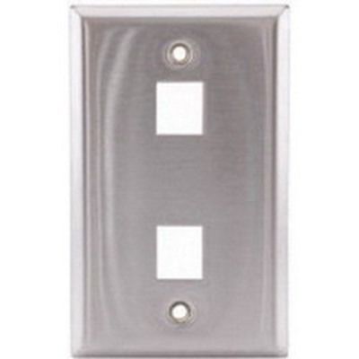 Hubbell Premise Wiring SSF12 Hubbell Premise SSF12 iStation™ 1-Gang Faceplate; Flush, (2) Port, Stainless Steel