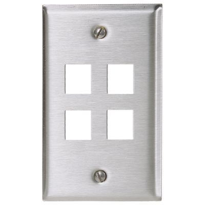 Hubbell Premise Wiring SSF14 Hubbell Premise SSF14 iStation™ 1-Gang Faceplate; Flush, (4) Port, Stainless Steel