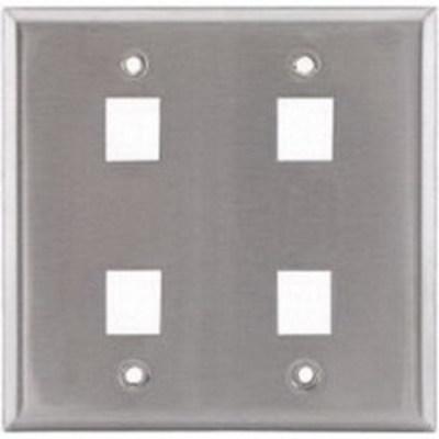Hubbell Premise Wiring SSF204 Hubbell Premise SSF204 2-Gang Wallplate; Screw, (4) Port, Keystone, 430 Stainless Steel
