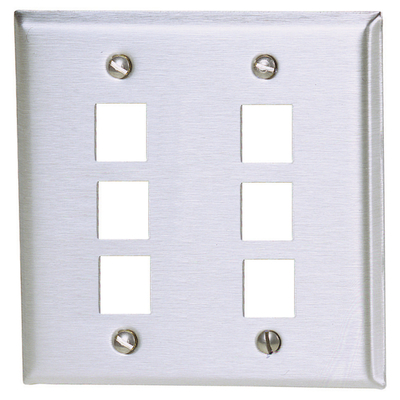 Hubbell Premise Wiring SSF206 Hubbell Wiring SSF206 2-Gang Wallplate; 6-Port, Screw Mount, Stainless Steel