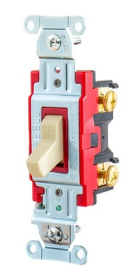 Hubbell Wiring Device-Kellems 1221I Hubbell HBL1221I Industrial Toggle Switch; Single Pole, 20 Amp, 120/277V, Ivory