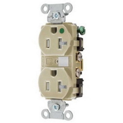 Hubbell Wiring Device-Kellems 8300IVTR Hubbell Wiring 8300IVTR Hubbell-Pro™ Traditional Tamper Resistant Straight Blade Duplex Receptacle; 2-Pole, 3-Wire, 20 Amp, 125 Volt, 5-20R NEMA, Screw Mount, Ivory